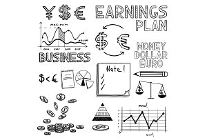 Hand draw business finance doodle sketch money icon, dollar euro sign graph, chart