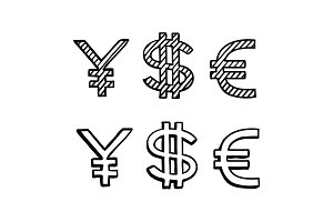 Hand draw doodle sketch money icon, dollar euro sign