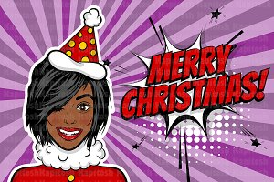 African american pop art woman Xmas