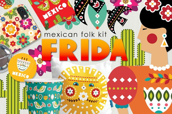 Frida - Mexican folk kit ~ Illustrations ~ Creative Market