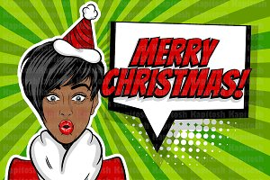 Black star pop art woman Christmas