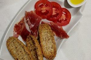 Spanish breakfast with ham