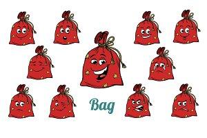 gift Christmas bag emotions emoticons set isolated on white back
