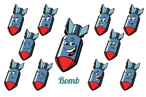 aircraft bomb emotions emoticons set isolated on white backgroun