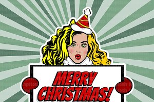 Vintage pop art Christmas woman