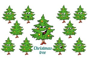 Christmas tree emotions emoticons set isolated on white backgrou