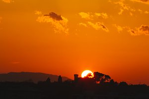 Sunset with orange colors