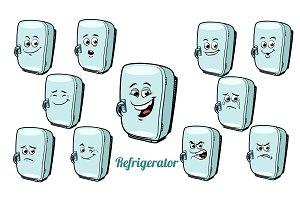 refrigerator emotions emoticons set isolated on white background