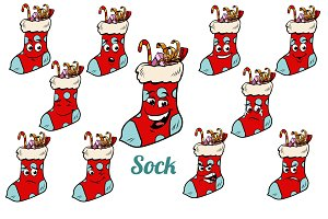 Christmas gift sock emotions emoticons set isolated on white bac