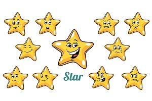 gold star emotions emoticons set isolated on white background