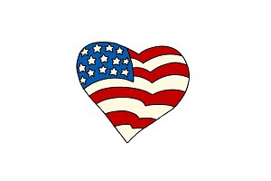 USA heart Patriotic symbol