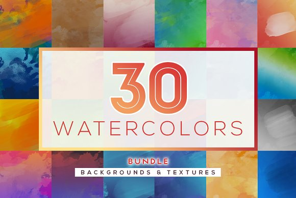 BUNDLE 30 Watercolor Textur-Graphicriver中文最全的素材分享平台