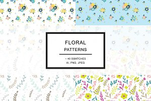 Floral hand drawn pattern swatches