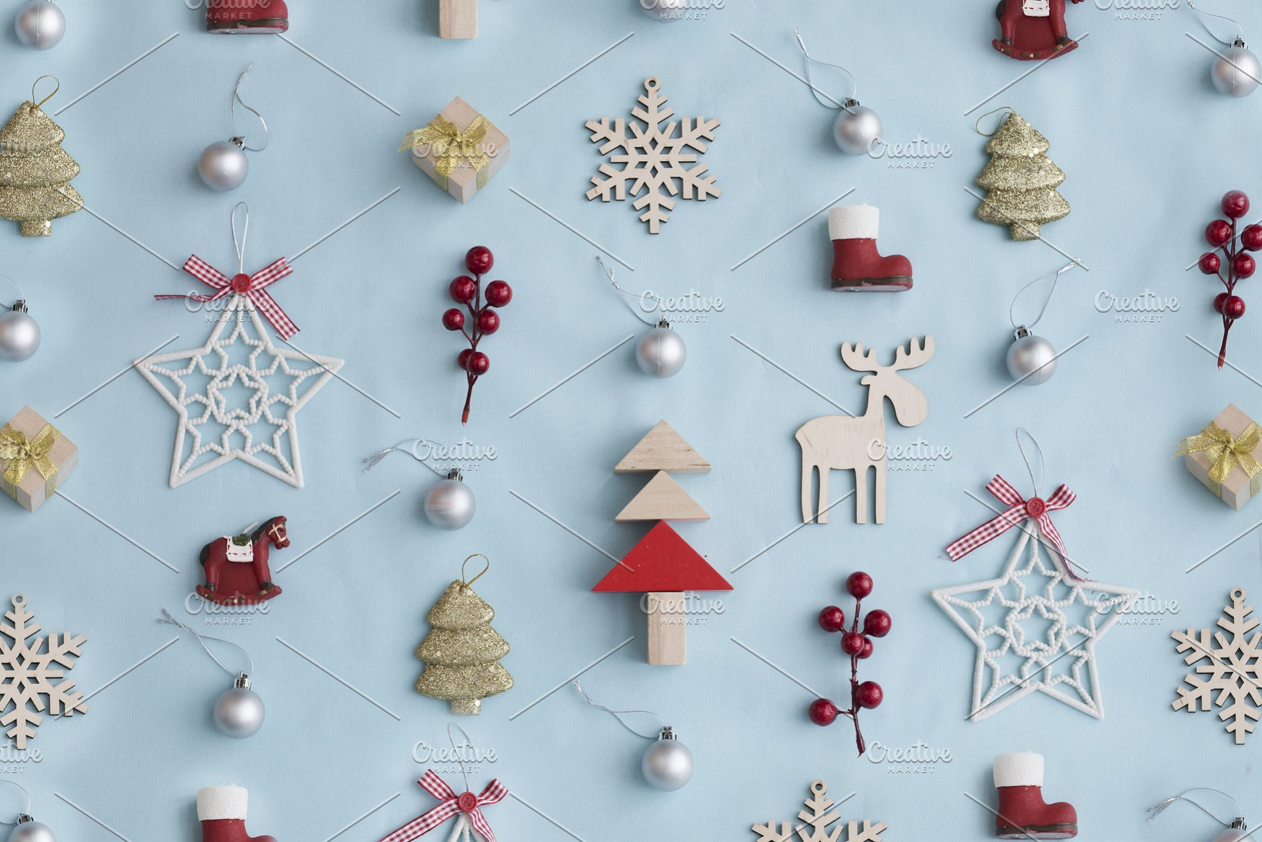 Pastel Christmas Ornaments.Christmas Decorative Ornaments And Gifts On Pastel Background In Vintage Color