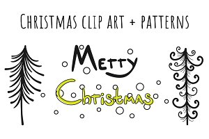 Christmas patterns + clipart