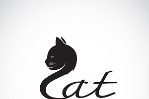 Vector of design cat is text. Animal