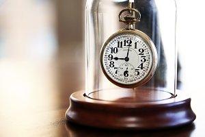 Pocket Watch in Glass Cloche