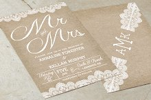 Burlap Wedding Invitation Suite