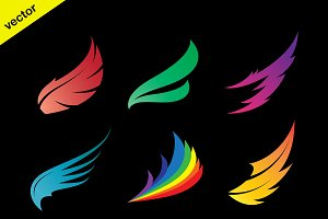Vector colorful wing icons set. icon