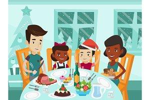 Multiethnic family celebrating Christmas day.