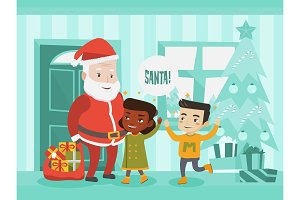 Multicultural children meeting Santa Claus.