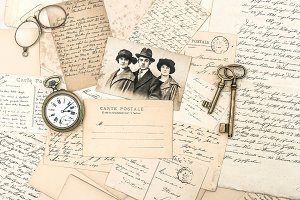 Antique letters, accessories, photos