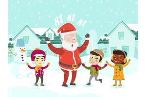 Multiethnic children playing with Santa Claus