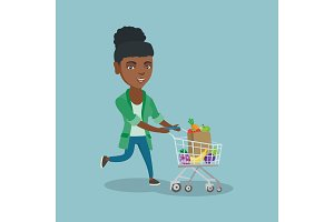 African woman running with a shopping cart.