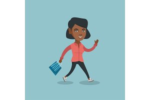 Woman running in a hurry to the store on sale.