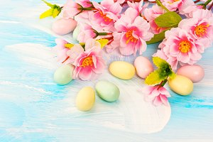 Easter eggs decoration with flowers