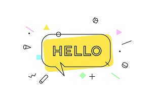 Hello. Banner, speech bubble