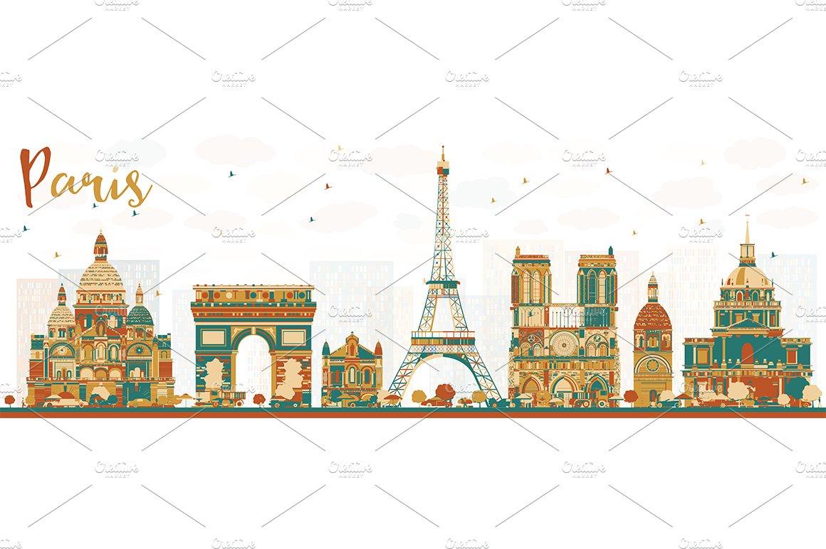 Paris France Skyline Illustrations Creative Market