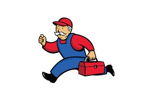 Aircon Technician Running Cartoon