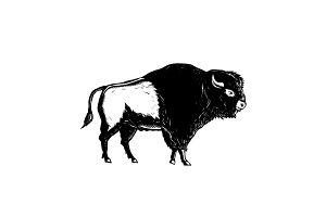 American Buffalo Side Woodcut Black