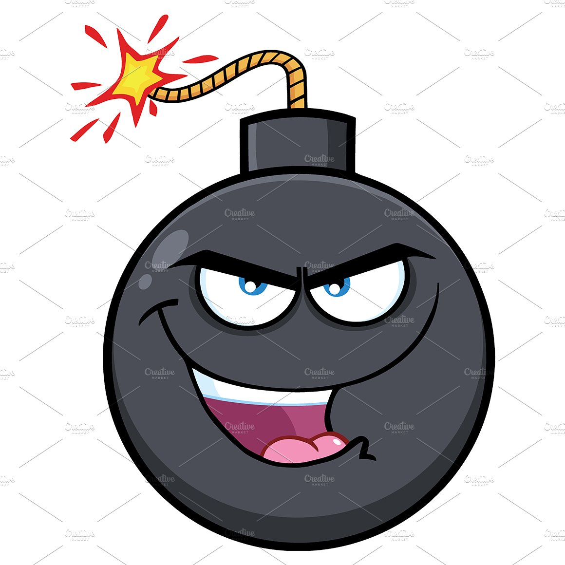 Evil Bomb Face Cartoon Character ~ Illustrations ...