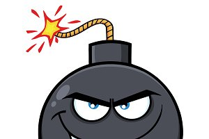 Evil Bomb Face Cartoon Character