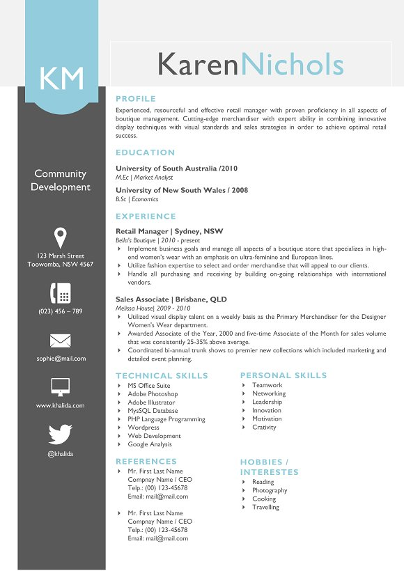 eye catching word resume design resume templates creative market - Eye Catching Resume Templates