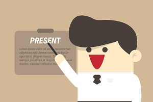 Businessman presenting SEO graphic c