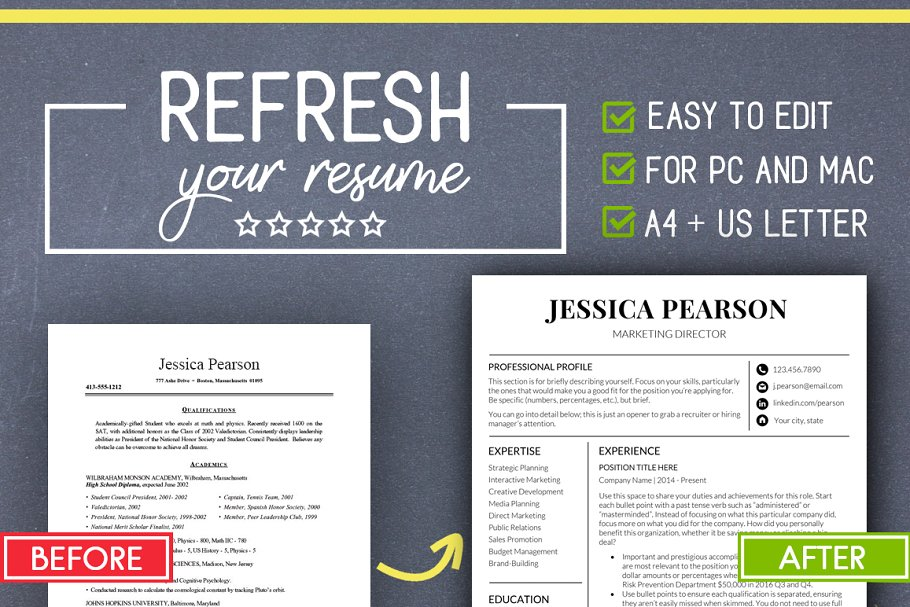 Clean Resume Template Word Mac PC Templates Creative Market