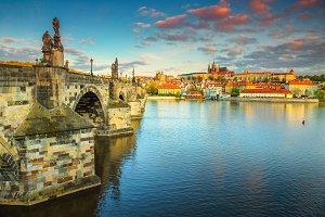 Stunning colorful sunrise in Prague