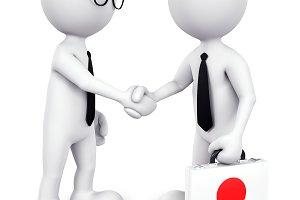 3D Businessman handshaking (PSD)