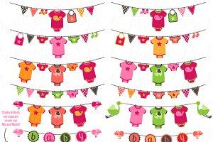Baby Girl Bunting Clipart/Vectors