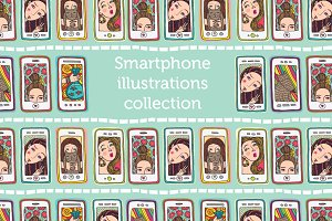 Smartphone illustrations collection