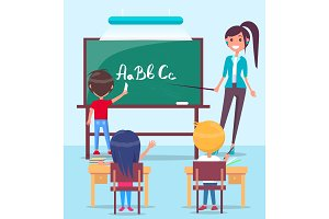 Lesson in Classroom Colorful Vector Illustration
