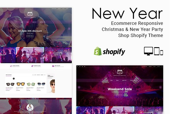 new year party shop shopify theme themes
