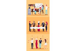 Set of Celebrating People on Vector Illustration