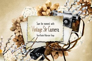 Vintage watercolor camera collection