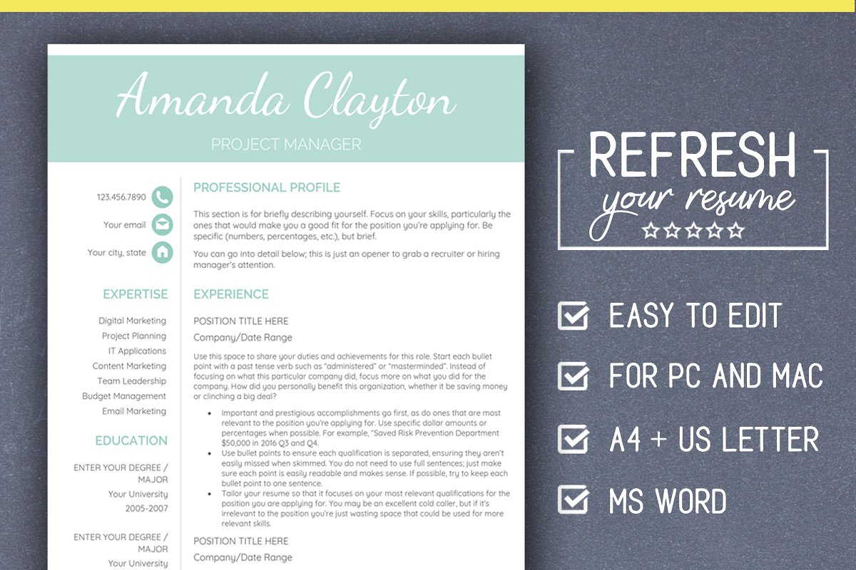 Minimalist RESUME Template PC & MAC ~ Resume Templates ...