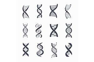 Dna Different Icons Set on Vector Illustration
