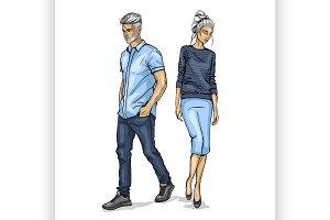 Vector woman and man